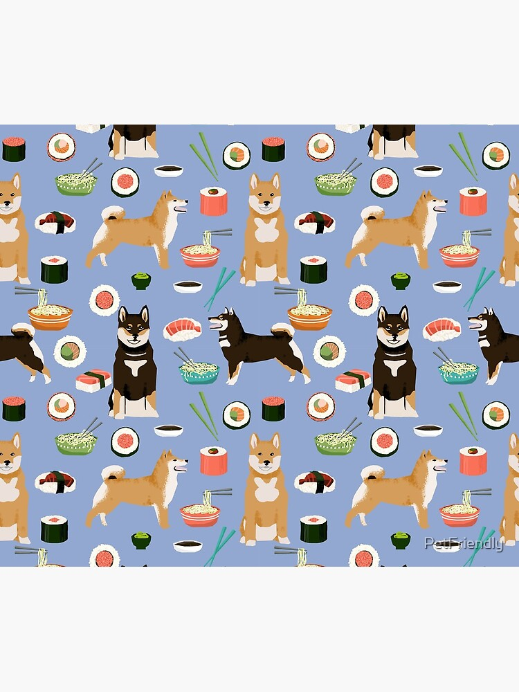 Shiba Inu noodles pho food cute dog art sushi dogs pet portrait pattern by PetFriendly by PetFriendly