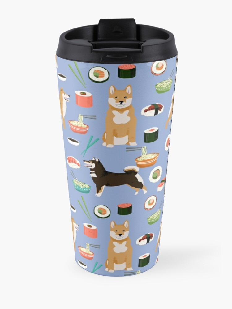 Alternate view of Shiba Inu noodles pho food cute dog art sushi dogs pet portrait pattern by PetFriendly Travel Mug