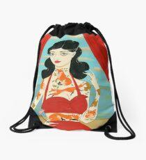Foxy Tattooed Lady Drawstring Bag
