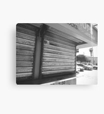 Corner Kiosk, Los Angeles, CA - Black and White Metal Print