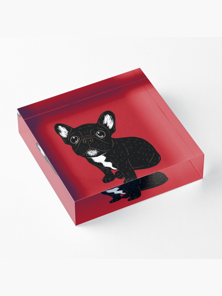 Alternate view of Cute Brindle Frenchie Puppy Acrylic Block