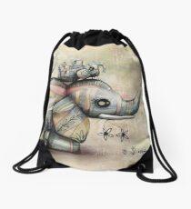 Upside Down Elephants Drawstring Bag