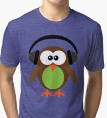 Cute Owl with Headphones Tri-blend T-Shirt