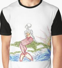 Cranky Mermaid on a Green Rock Graphic T-Shirt