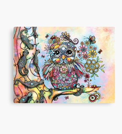 Rainbow of Peace Owl Canvas Print