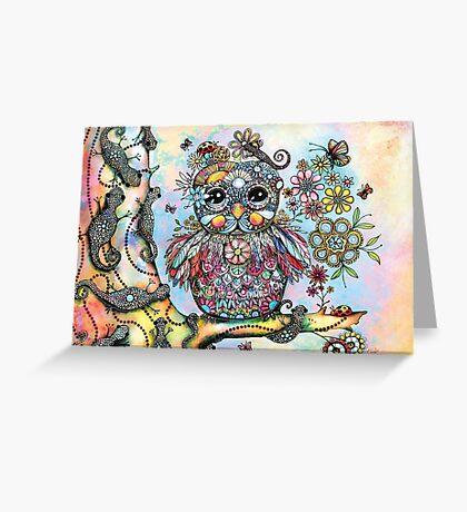 Rainbow of Peace Owl Greeting Card