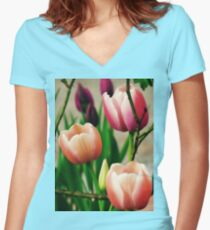Spring Tulips Women's Fitted V-Neck T-Shirt