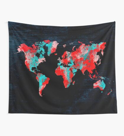 world map 82 red blue Wall Tapestry