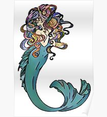 Colorful Mermaid Art Poster