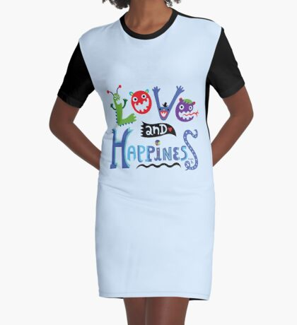Love and Happiness  Graphic T-Shirt Dress