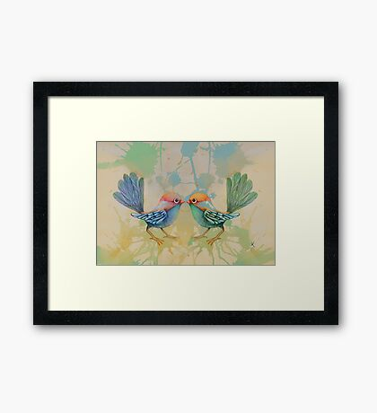 little love birds blue Framed Print