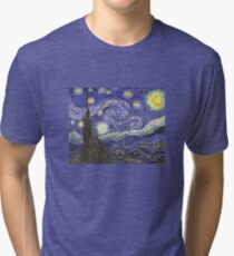 'Starry Night' by Vincent Van Gogh (Reproduction) Tri-blend T-Shirt