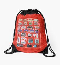 Red Pixel Art Consoles Drawstring Bag