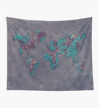 world map 83 green mosaic Wall Tapestry