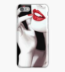 Woman face red lipstick and red nail polish illustration art print iPhone Case/Skin