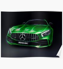 Stylized illustration 2017 Mercedes AMG GT R Coupe sports car art print Poster