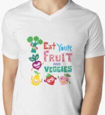 Eat Your Fruit & Veggies  Men's V-Neck T-Shirt