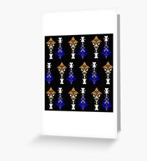 Abstract Totem Pole Pattern (Orange & Blue) Greeting Card