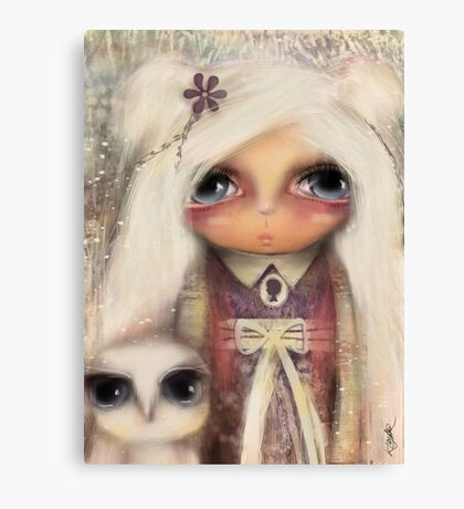 cameo girl and owl companion Canvas Print
