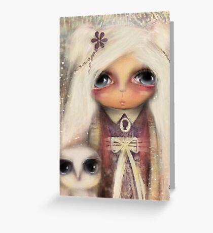cameo girl and owl companion Greeting Card