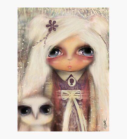 cameo girl and owl companion Photographic Print
