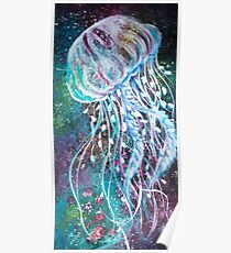 Space Floral Jellyfish  Poster