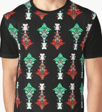 Abstract Totem Pole Pattern (Red & Green) Graphic T-Shirt