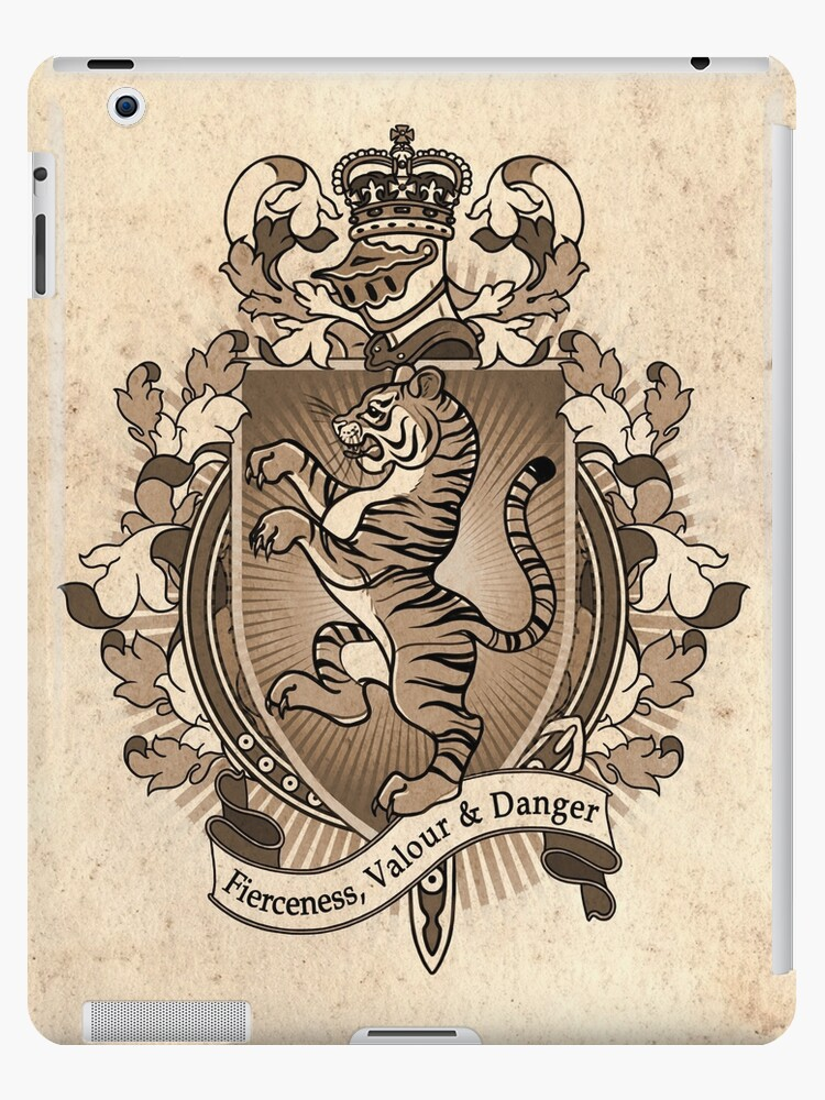 'Tiger Coat Of Arms Heraldry' iPad Case/Skin by Heather Hitchman