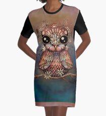 little rainbow flower owl Graphic T-Shirt Dress