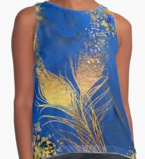Floral feathers, gold, pink gold and blue fantasy Contrast Tank