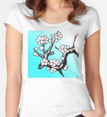 White Sakura Cherry Blossom Vector Design Women's Fitted Scoop T-Shirt