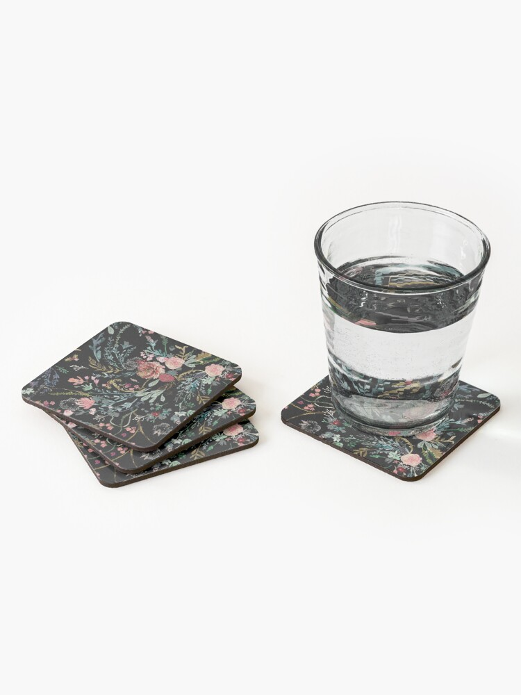 Alternate view of Midnight Floral Coasters (Set of 4)
