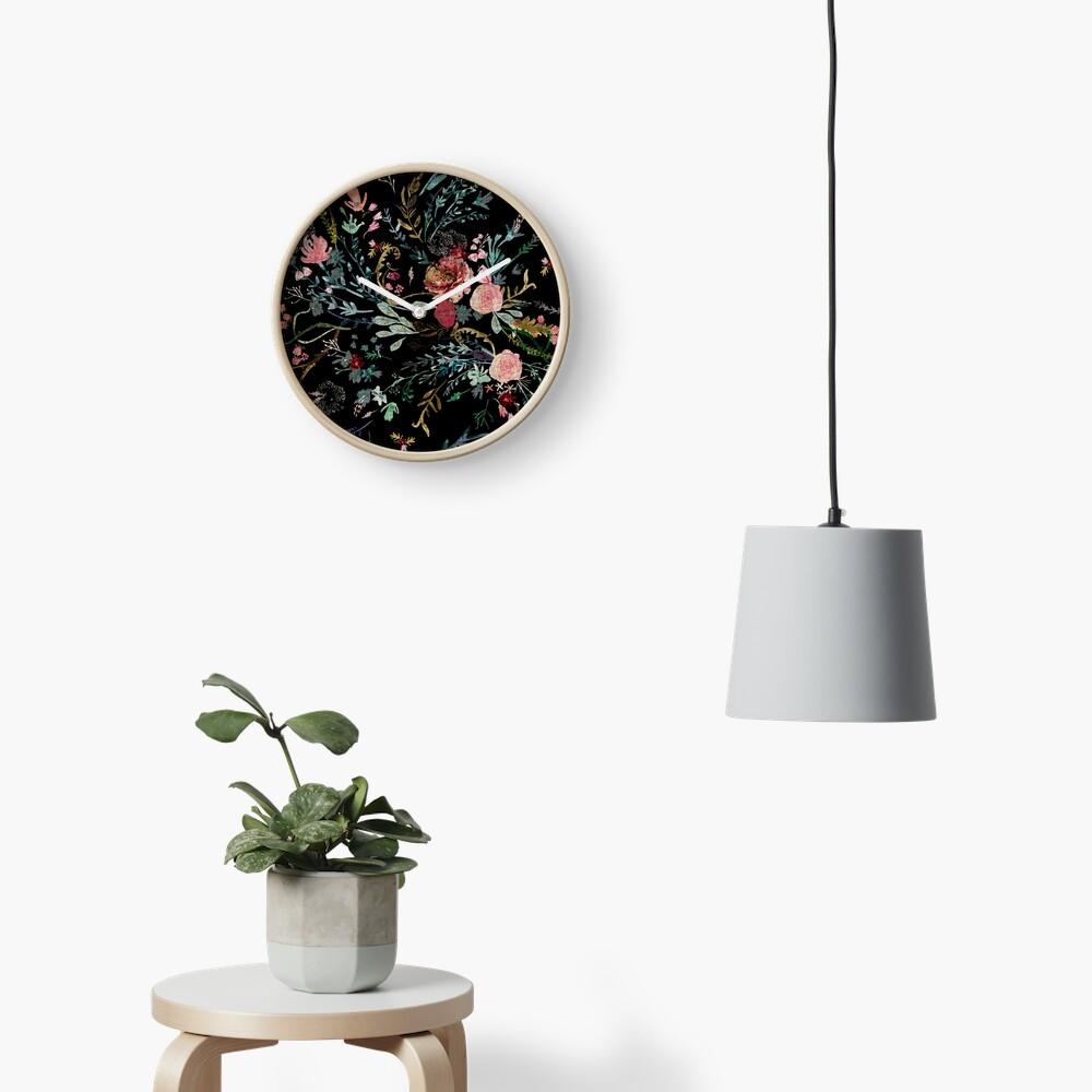 Midnight Floral Clock