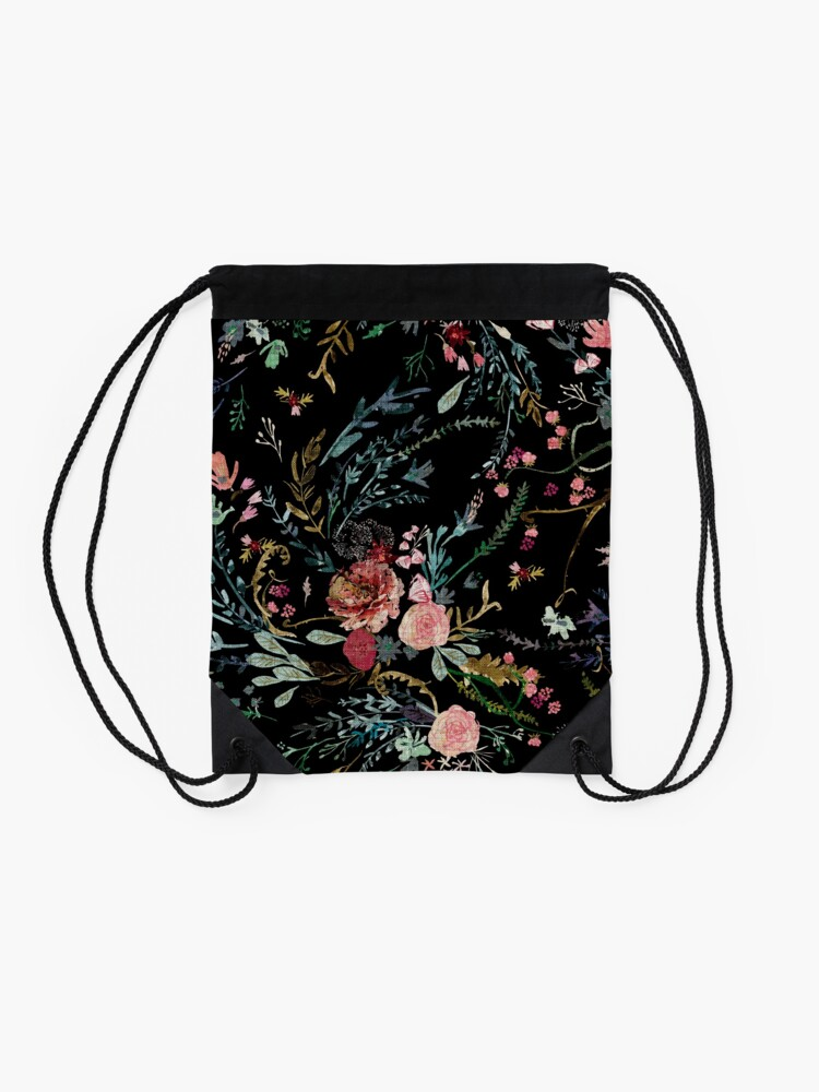 Alternate view of Midnight Floral Drawstring Bag
