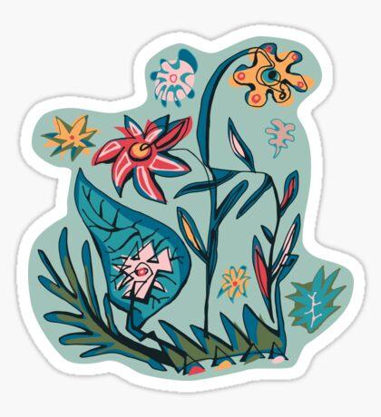Vintage aqua floral Sticker