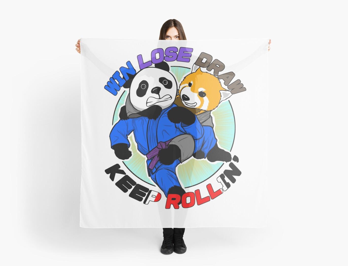Bjj Jiu Jitsu T Shirt Win Lose Draw Keep Rollin Scarves By Eokako