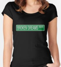 005 Broken Dreams Boulevard road sign Women's Fitted Scoop T-Shirt
