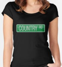 009 Country Road streets sign Women's Fitted Scoop T-Shirt