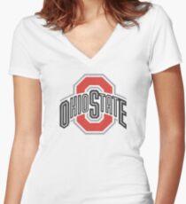 Ohio State University Shirts Women's Fitted V-Neck T-Shirt