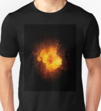 Realistic fiery explosion, orange color with sparks isolated on black background Unisex T-Shirt