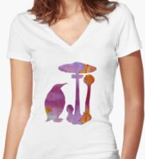 The Penguin And The Mushroom Women's Fitted V-Neck T-Shirt