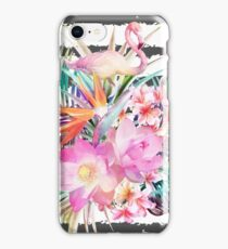 Tropical floral leaves and flamingos stripes iPhone Case/Skin