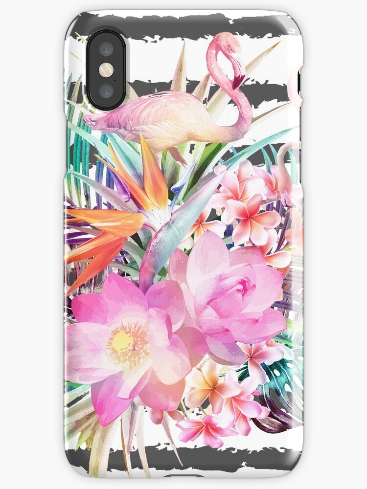 Tropical floral leaves and flamingos stripes by InovArtS