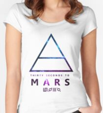 30 Seconds To Mars Galaxy White Women's Fitted Scoop T-Shirt