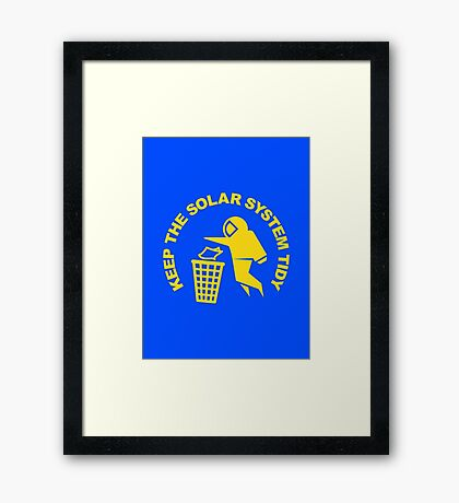 Keep the Solar System Tidy - Yellow Framed Print