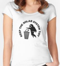 Keep the Solar System Tidy - Black Women's Fitted Scoop T-Shirt