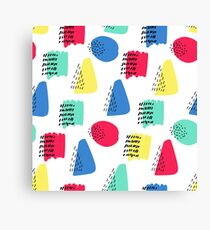 Colorful memphis cute pattern. Seamless hand drawn background. Vector illustration. Canvas Print