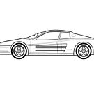 Testarossa Outline drawing  by RJWautographics