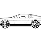 DeLorean DMC-12 Outline drawing by RJWautographics