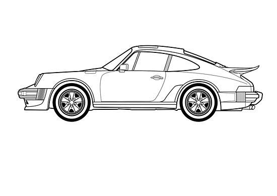 p u00f3sters  u00abdibujo del contorno 911 turbo u00bb de rjwautographics